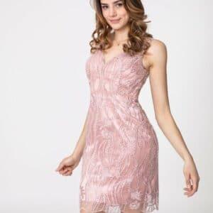 V Neck Elegant Beaded Dress