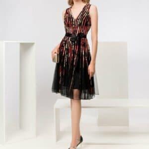 Tones Of Red Elegant Cocktail Dress