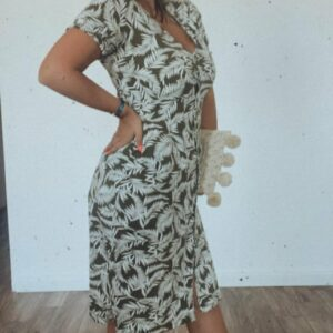 Buttoned Leaf Print Midi Dress with Smocking Sleeves