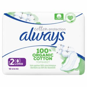 ALWAYS ORGANIC COTTON PADS LONG BY 10 (NEW)