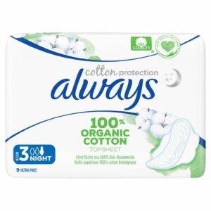 ALWAYS ORGANIC COTTON PADS NIGHT BY 9 (NEW)
