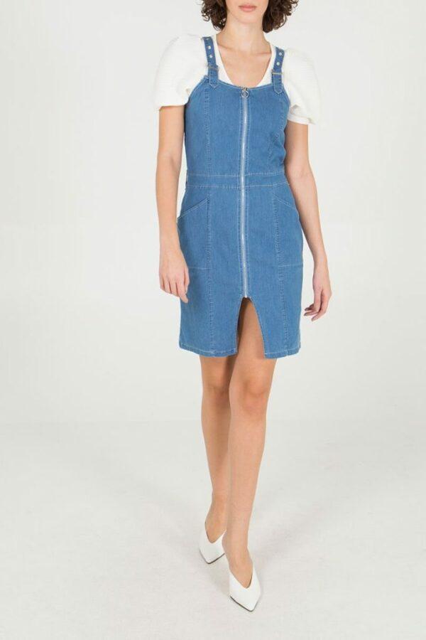 Denim Stretch Dress With Zip