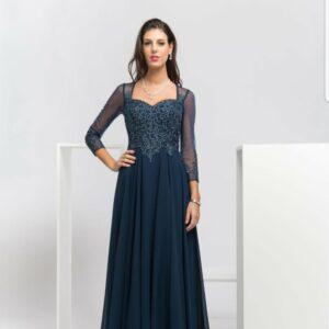 Elegant Beaded Bodice Evening Dress With Sleeves