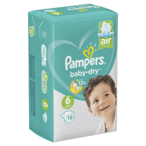 PAMPERS CARRY PACK BABY DRY SIZE 6 (By 19 nappies)