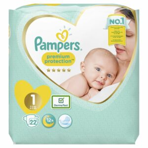 PAMPERS CARRY PACK NEW BABY SIZE 1 (By 22 nappies)