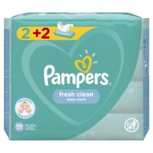 PAMPERS FRESH CLEAN WIPES (2+2FREE) 4x52 PACK (By 208 wipes)