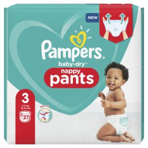 PAMPERS CARRY PACK BABYDRY PANTS SIZE 3 (By 27 nappies) (NEW)