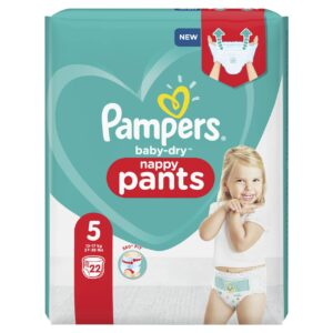PAMPERS CARRY PACK BABYDRY PANTS SIZE 5 (By 22 nappies) (NEW)