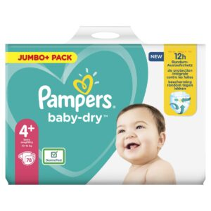 PAMPERS JUMBO PACK BABYDRY SIZE 4+ (By 78 nappies) (NEW)