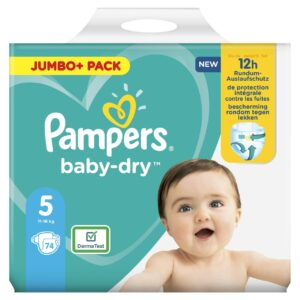 PAMPERS JUMBO PACK BABYDRY SIZE 5 (By 74 nappies) (NEW)