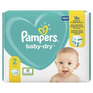 PAMPERS CARRY PACK BABYDRY SIZE 2 (By 34 nappies) (NEW)