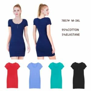 T- Shirt Style Plain Dress with Buttons