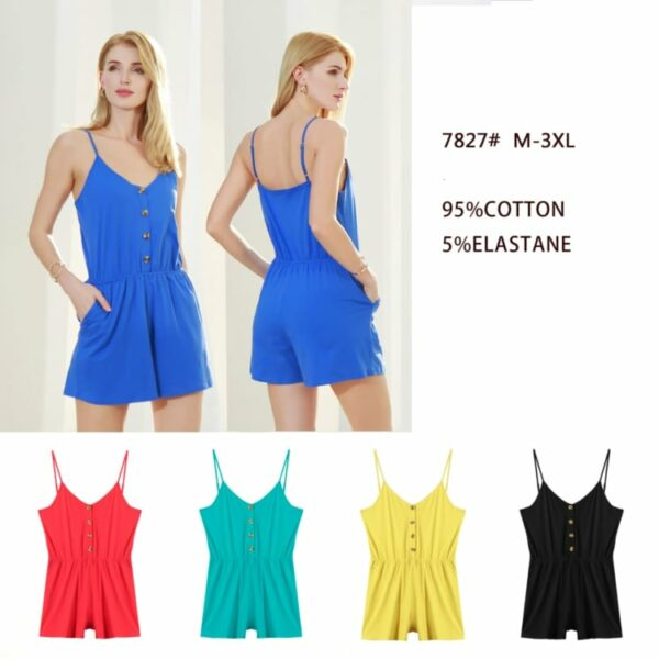 Plain Playsuit Spaghetti Strap with Pockets