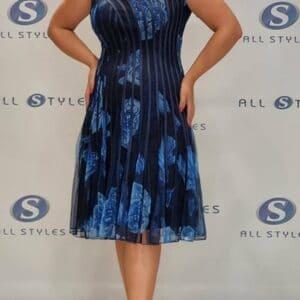Cap Sleeve Floral Self Designed Dress
