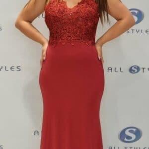 Sheer Lace Top Satin Skirt Evening Dress