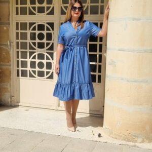 Tiered Denim Look Button Up Dress