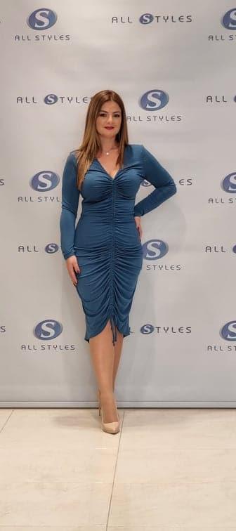 Midi Length Dress with Gathering